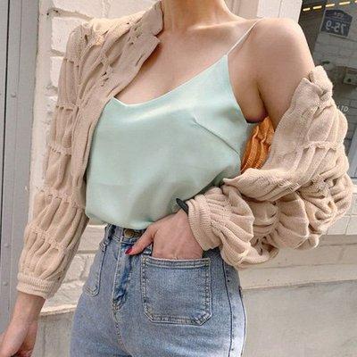 毛衣小外套 褶皺純色針織開衫小披肩外套 艾爾莎【TGK8605】