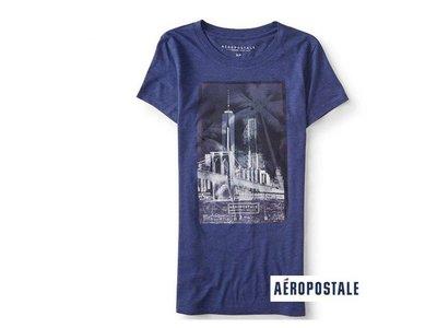 美國正品Aeropostale[Aero] 美式休閒短袖T / 藍 ~S (編號:3822 )