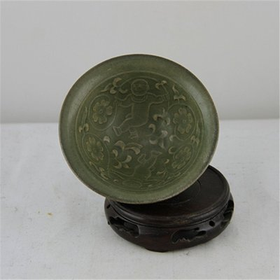 ㊣姥姥的寶藏㊣ 宋耀州窯雕花娃娃紋斗笠碗 收藏古玩