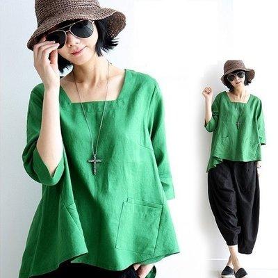 棉麻衫 Yoho (16YN0713-2) 優質純色寬鬆小方領棉麻衫七分袖上衣中大碼上衣 有2色 S-XL AA