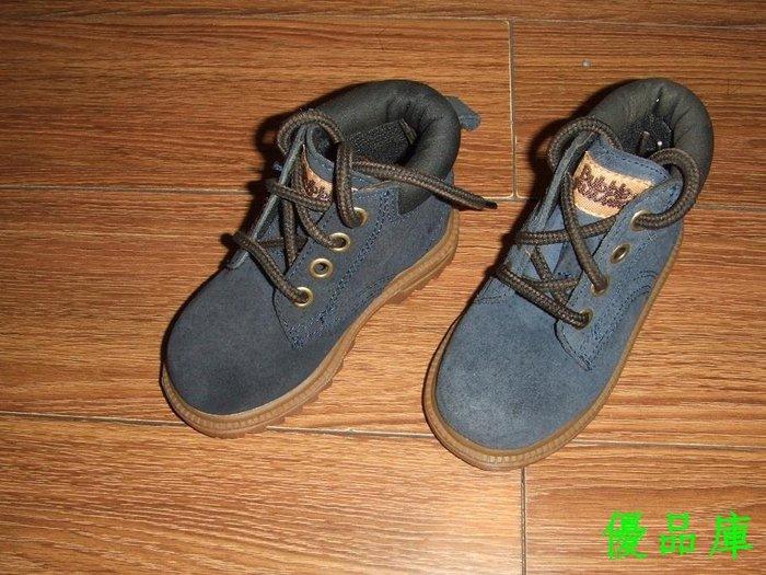 優品庫外貿原單 藏青色翻皮系帶寶寶靴/牛筋底短筒靴