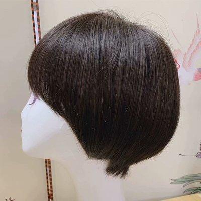 整頂假髮真髮絲短假髮-順滑直髮隱形無痕女假髮2色73vr33[獨家進口][米蘭精品]