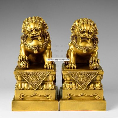 黃銅 元寶北京獅一對 鎮宅 避邪納吉 招財