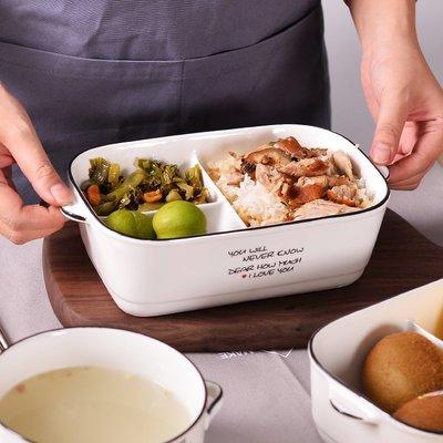 陶瓷卡通三格多格飯盒便當盒 可微波爐送勺筷