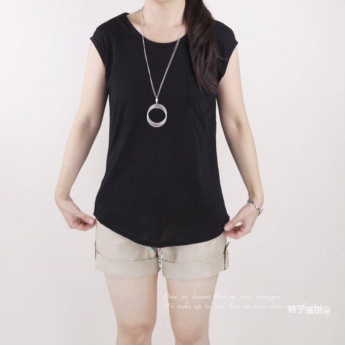 正韓 韓國連線 鬆軟舒服棉T 圓領單口袋(黑、灰) ~惠衣。桔子瑪琪朵