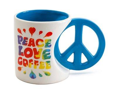 【丹】A_Peace Love & Coffee Mug 20 oz 和平與愛 馬克杯 咖啡杯