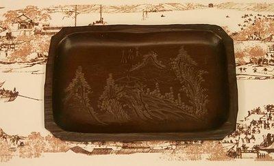 日本茶道盆香道盆乾式茶盤名家紫檀刻山水賞盤