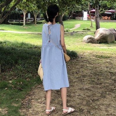 漏后背衣服連衣裙性感女夏學生長裙仙韓版復古心機