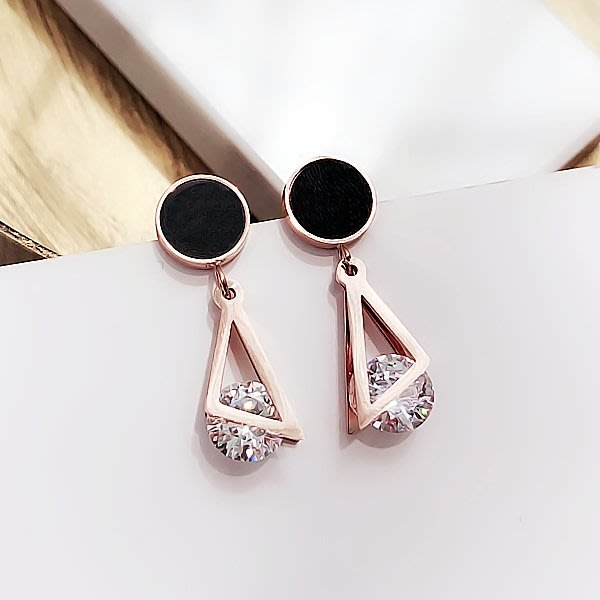 三角圓形鉆鈦鋼耳環女氣質耳飾韓國個性百搭吊墜簡約耳釘
