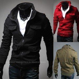 yes99buy加盟-2014秋冬새로운男式外套 戶外休閒男式純色夾克 韓味男款多口袋夾克