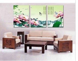 【優上精品】荷花花卉掛畫現代簡約客廳無框畫三聯畫沙發背景墻裝飾畫(Z-P3238)