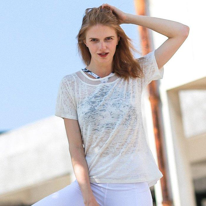 夏季新款運動上衣女寬鬆美背性感網紗速干跑步健身房瑜伽短袖T恤