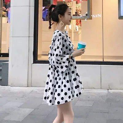 孕婦必備 哺乳衣外出夏季時尚辣媽款產后波點小清新寬松中長款喂奶連衣裙潮