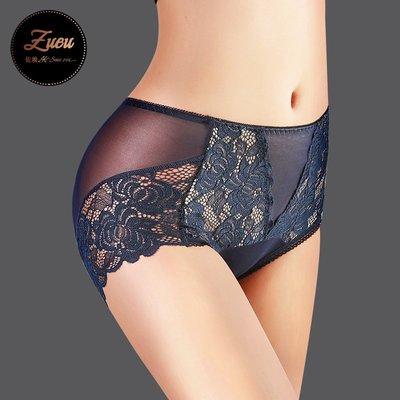 蕾絲內褲 透明網紗 性感透明收腹提臀  中腰女士內新款褲  大碼三角