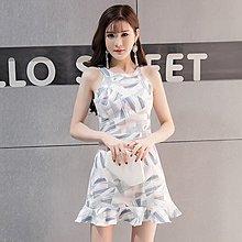 夜店性感女裝18春新款韓版修身顯瘦無袖掛脖露肩包臀魚尾連衣裙子