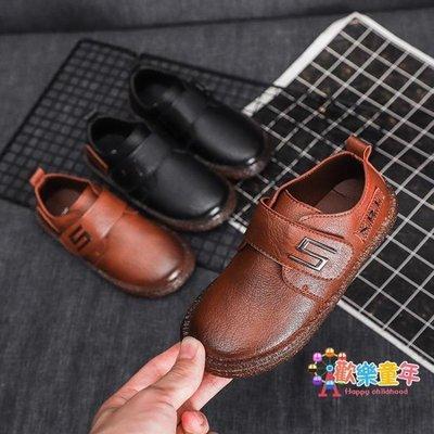 男童皮鞋春秋款黑色英倫演出新款休閒潮軟底防滑中大童豆豆鞋