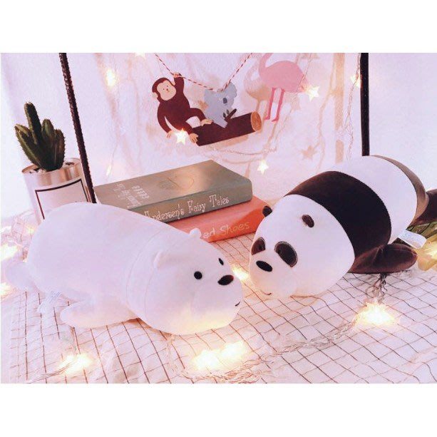[現貨在台當天寄出]50cm咱們裸熊 熊熊遇見你 玩偶抱枕 娃娃機 MINISO 情人節生日禮物 趴姿毛絨公仔玩偶