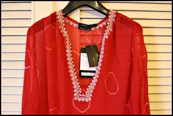 全新微風專櫃正品《BCBG》Bling亮片鑲飾袖口裙襬紅色大V領100%蠶絲波希米亞洋裝