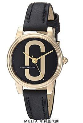 Melia 米莉亞代購 美國代買 MARC JACOBS  女士款 手錶 精品錶 石英錶 金框 黑色錶帶