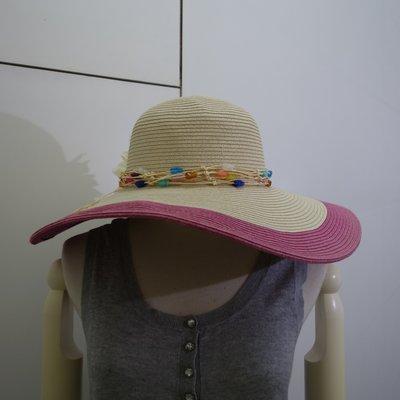 ☆注目の日本帶回mire-ru  夏新款桃紅色邊活動花朵遮陽草帽☆