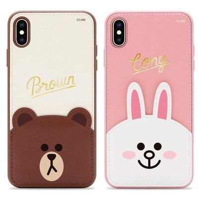 正版 LINE FRIENDS 燙金皮革保護套 - 熊大 兔兔,iPhone 7 Plus / 8 Plus