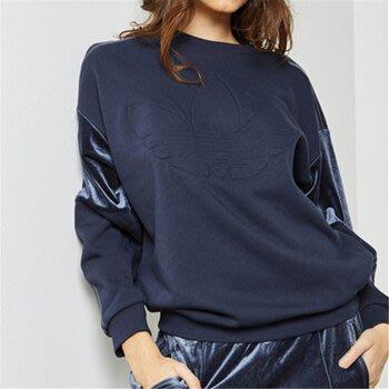 Adidas Originals 深藍色 鋪棉  長袖T恤 (S) (一元起標 無底價)
