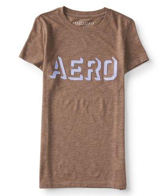 美國Aeropostale女裝Aero Knockout Graphic Tee新穎造型貼布LogoM號淺咖非圓領T含運