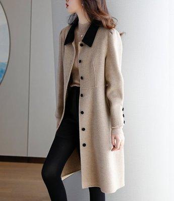 歐單 新款 簡約線條 氣質百搭 綁帶收腰 撞色小翻領羊毛呢中長版大衣外套 (P1161)