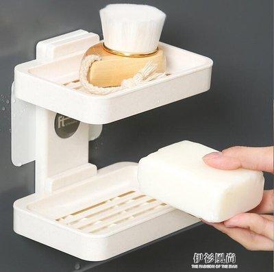 雙層香皂盒肥皂架吸盤壁掛式瀝水衛生間免打孔雙格創意浴室置物架 k-shoes 【MAX衣捨】