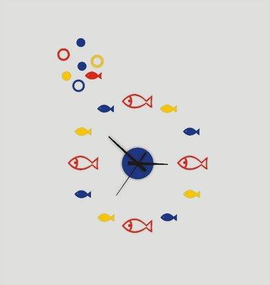 【蘑菇小隊】DIY地中海靜音掛表客廳臥室3D牆貼裝飾小魚黏貼鐘錶-MG2129