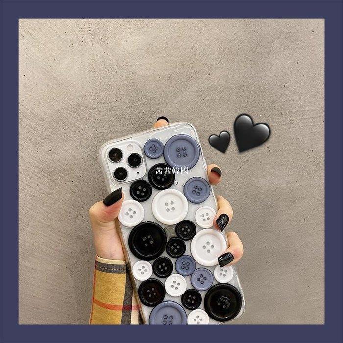 創意立體紐扣適用iphoneX手機殼蘋果11透明8plus/7軟殼XR/xsmax女