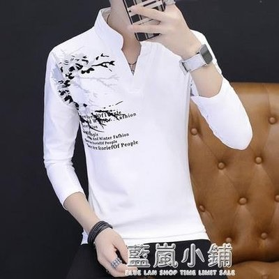 夏季全棉中國風男士有帶領子長袖t恤夏天男衫體血上衣立領夏衫男