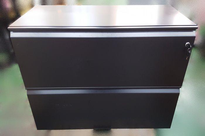 台中二手家具店 宏品全新中古傢俱 CE11297黑色2抽理想櫃 資料櫃 鐵櫃 *2手辦公設備拍賣 oa隔間屏風 會議桌