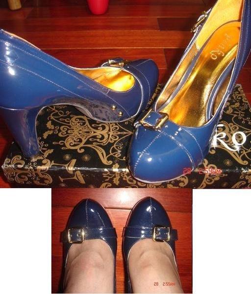 全新 Pinko 深藍色漆皮/亮皮扣環造型高跟鞋