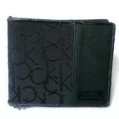 CK 皮夾短夾 男用 Calvin Klein 麂皮 織布 附零錢袋 二手市價6000 特價299