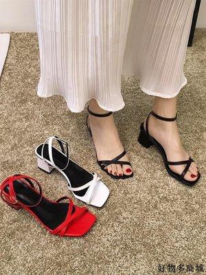 涼鞋 跟鞋 一字帶涼鞋 羅馬鞋 涼鞋女新款夏季時尚粗跟百搭一字扣性感露趾羅馬高跟鞋潮新品優選免運