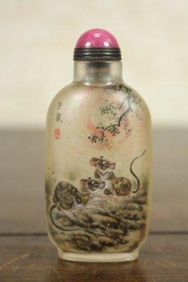 悅年堂 --- 玻璃 內畫 馬少宣 十二生肖 鼠 鼻煙壺