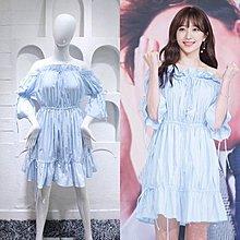 預購-奇怪的搭檔安喜延同款夏季新款韓版時尚氣質優雅清新素雅一字肩荷葉喇叭袖洋裝