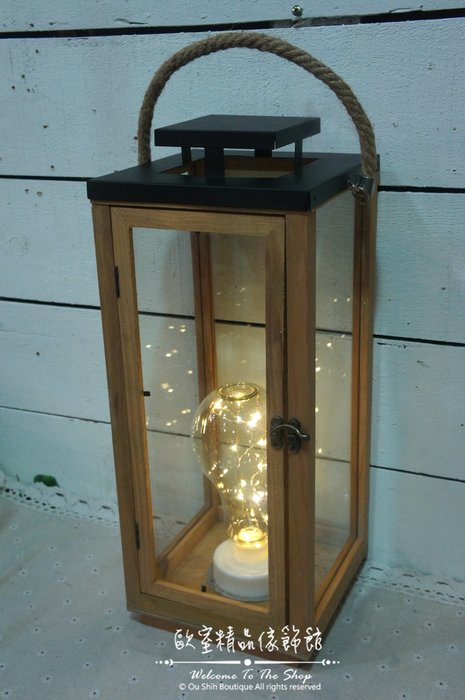 ~*歐室精品傢飾館*~Loft工業 美式鄉村 木製 玻璃 燭台 LED 燈泡造型 燈絲 桌燈 氣氛燈 裝飾燈~新款上市~
