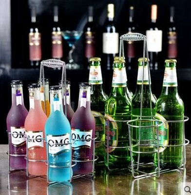 設計師美術精品館加粗KTV專用不銹鋼色啤酒架酒吧啤酒提籃白酒架手提六頭啤酒提子