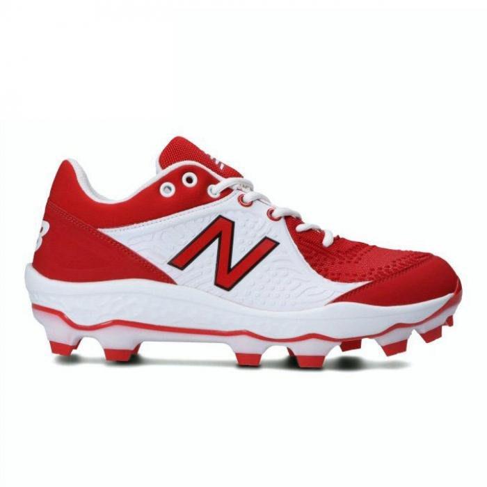 【一軍運動用品-三重店】NEW BALANCE 棒球膠釘鞋 白紅PL3000R5-2E