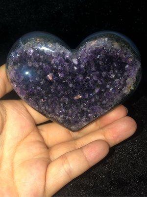 烏拉圭綠灰藍瑪瑙愛心💜紫水晶簇/晶鎮/原石/原礦石附透架