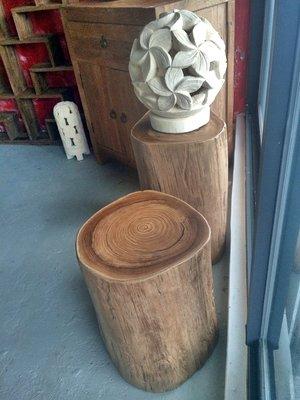 老柚木置物台茶几矮椅- Stump Stool#1