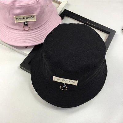 可開發票 漁夫帽 貼布字母盆帽百搭漁夫帽可折疊遮陽防曬男女 『愛品質生活館』