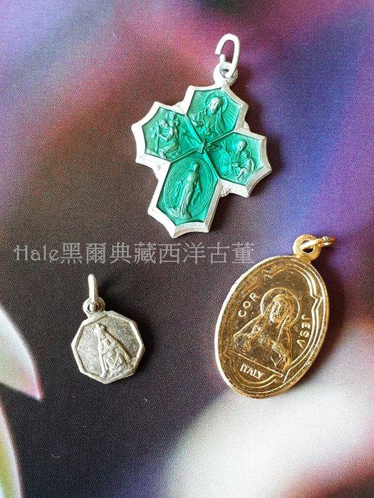 黑爾典藏西洋古董 ~法國三件彩繪系列迷你墜子E~Vintage羅馬宗教聖母瑪麗亞主教信仰