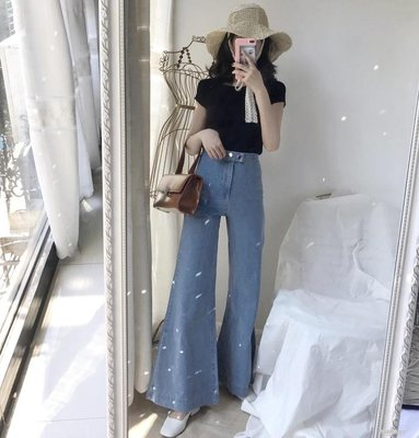 港味新款復古韓版高腰寬鬆淺色氣質款牛仔闊腿喇叭褲女長褲