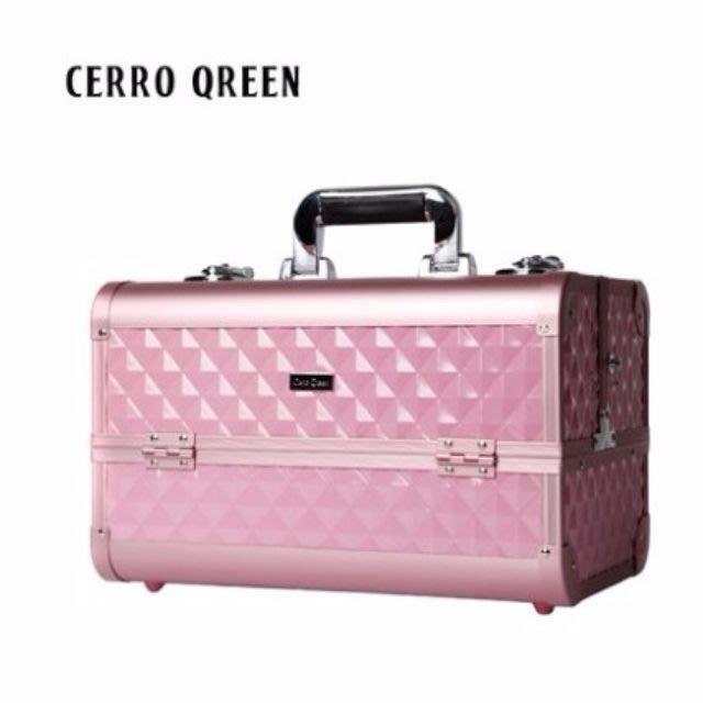 【愛來客 】美國Cerro Qreen專業時尚粉紅色鑽石菱紋化妝箱手提肩背美甲/新秘/彩妝師