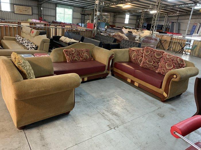 【全國二手家具】法式經典款高級款布沙發1+3/單人沙發/2手床尾椅/中古實木矮凳/L形布沙發/另售德國進口全牛皮沙發