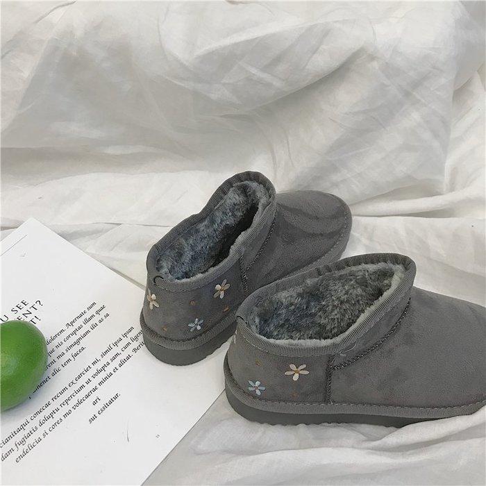 999雪靴 靴子 马丁靴 中靴棉鞋女冬季新款百搭花朵雪地靴女加絨保暖防滑學生女靴棉靴女