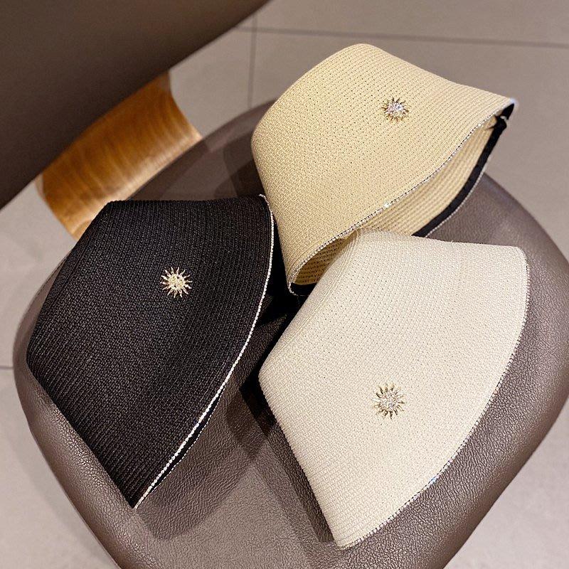 漁夫帽 盆帽-優雅鑲鑽遮陽草編女帽子3色73xu19[獨家進口][米蘭精品]
